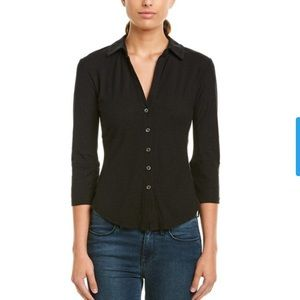 James Perse Shirt Contrast Panel Top button down